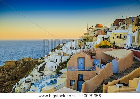 Santorini, Greece - Oia, sunrise, panorama