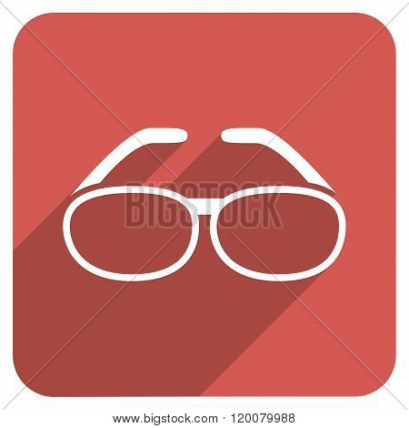 Spectacles Flat Rounded Square Icon with Long Shadow