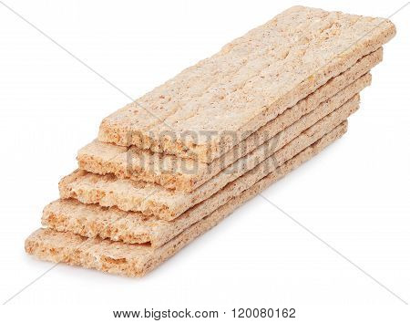 Crispbread Stack Isolated On White Background