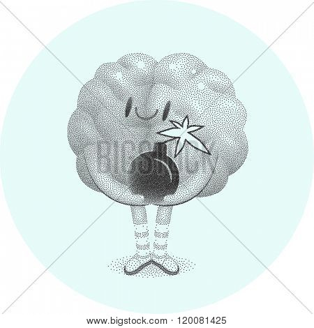 A vector dotted illustration of a brain holding the bomb in its hands, the metaphor of patience