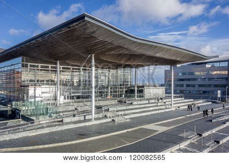Welsh Assembly Building At Cardiff Bay, Uk