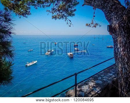 Boats At Sea And Sea Coastline View Positano, Italy