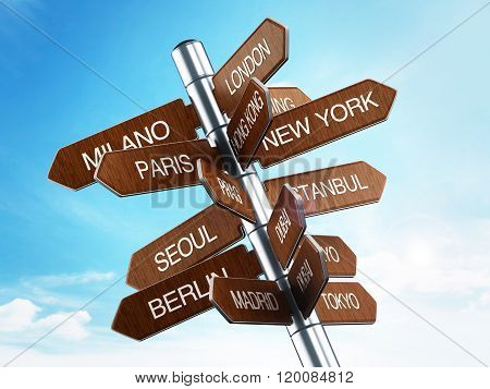 Travel destinations signpost with city names against blue sky