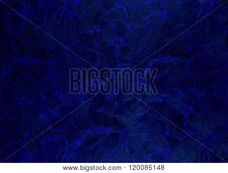 Dark Blue  Background With Floral Patterns.