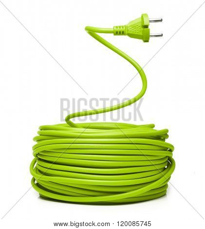 Green electric cable isolated on white
