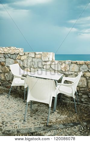 Outdoor Cafe By The Seaside