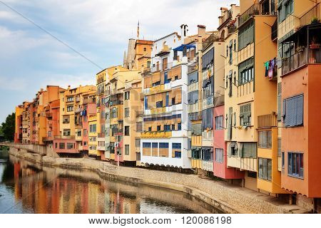 Picturesque Buildings Along The River In Girona, Catalonia