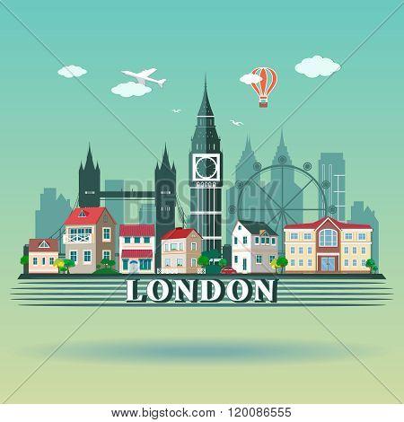 Flat design London City landscape. Modern colored London city skyline