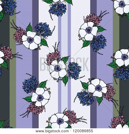 Vertical seamless patterns with provence flowers