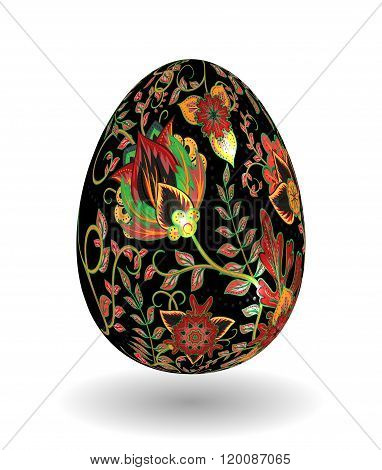 Gold egg with hand draw floral ornate isolated on white background. Fantasy colorful and gold flowers on black egg. Khokhloma.