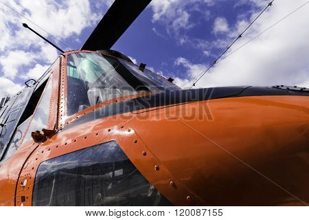 Red Helicopter Closeup View And Details Of The Body