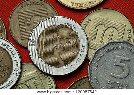 Coins of Israel. Prime Minister of Israel Golda Meir depicted in the Israeli ten new shekels coins.