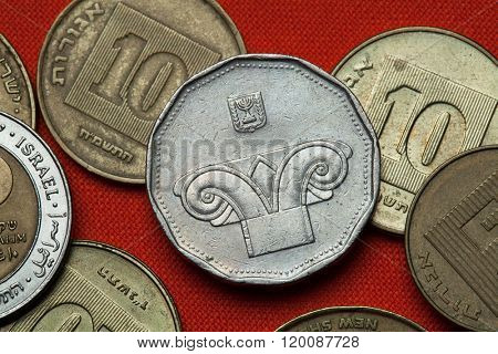 Coins of Israel. Ionic capital of column depicted in the Israeli five new shekels coin.
