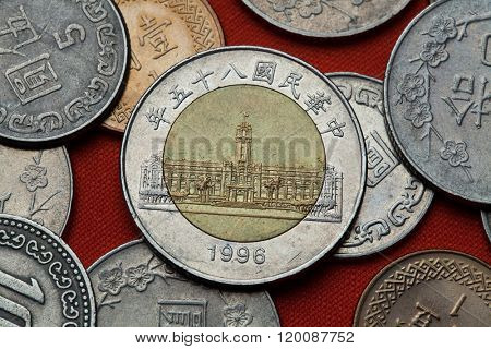 Coins of Taiwan. Presidential Office Building in Taipei, Taiwan depicted in the Taiwan 50 dollars coin (1996).