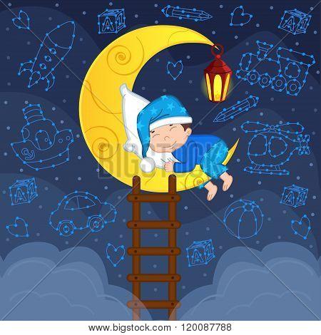 baby boy sleeping on the moon among the stars