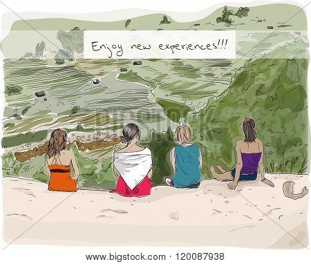 Hand drowing girls enjoying nature