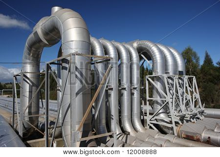 Expansion bend, geothermal power station, New Zealand