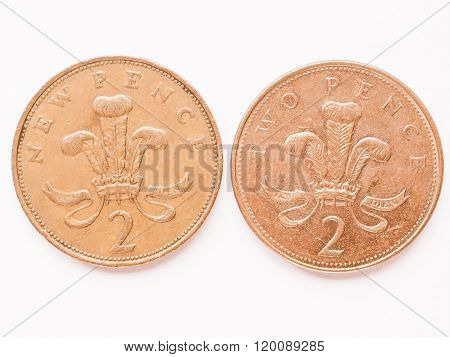 Uk 2 Pence Coin Vintage