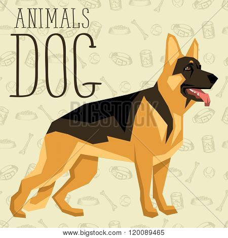 Vector geometric dogs collection with seamless background. German Shepherd