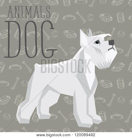 Vector geometric dogs collection with seamless background. Miniature schnauzer