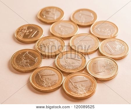 Many One Euro Coins Vintage