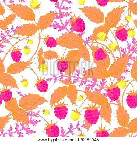 Raspberry pattern. Vector doodle seamless pattern with neon pink raspberry for wallpaper, web page background, surface textures, textile, scrap book, design fabric, menu