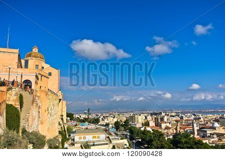 Panoramic view of Cagliari from Castello walls and Santa Maria Cathedral, Sardinia