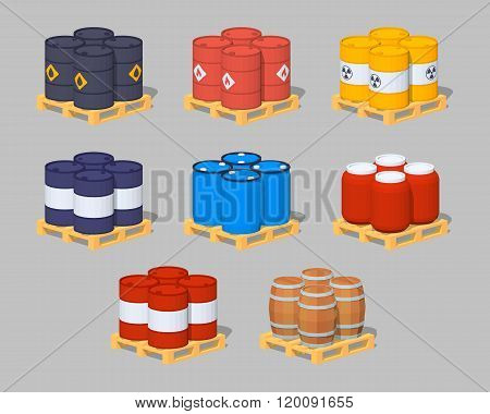 Barrels on the pallets