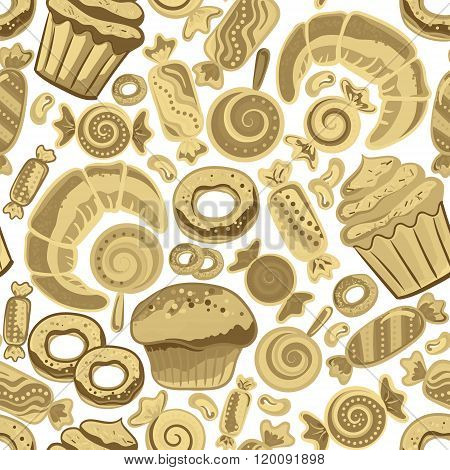 Vector food bakery seamless pattern with baked goods. Flour products from pastry shop. Illustration for print, web. Original design element. Biege colors.