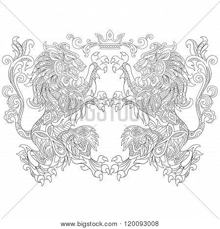 Zentangle Stylized Two Lions With A Crown
