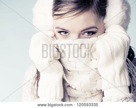 Woman Girl Covering Face Mouth With Scarf.