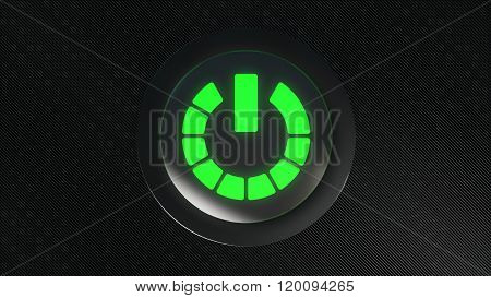 green glowing power icon button