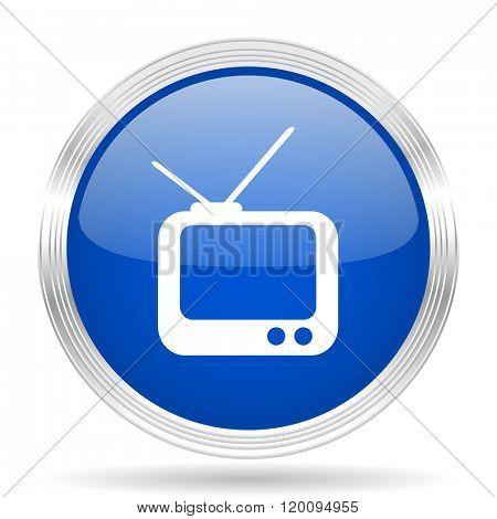 tv blue silver metallic chrome web circle glossy icon