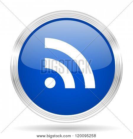 rss blue silver metallic chrome web circle glossy icon