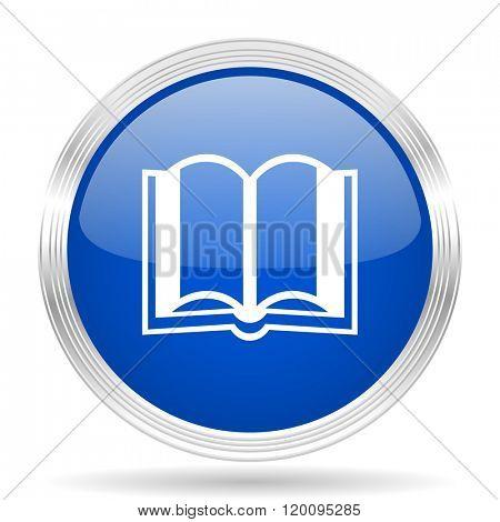 book blue silver metallic chrome web circle glossy icon