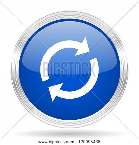 reload blue silver metallic chrome web circle glossy icon