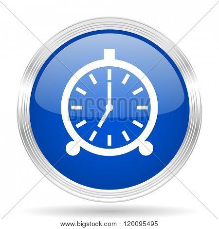 alarm blue silver metallic chrome web circle glossy icon