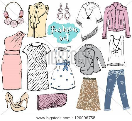 Fashion Collection Doodles Set. Hand Drawn Sketch With Dress Shoes, Pants And Jacket, Handbag And Ac