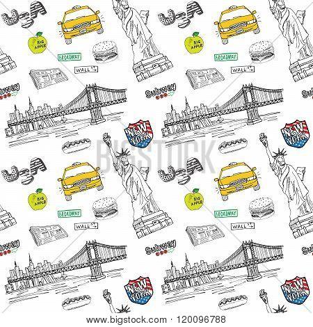 New York City Seamless Pattern With Hand Drawn Sketch Taxi, Hotdog, Burger, Statue Of Liberty, Newsp