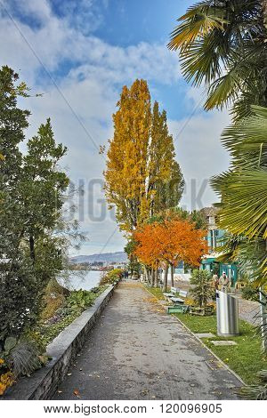 autumn Panorama of Embankment of Montreux and Lake Geneva, canton of Vaud, Switzerland