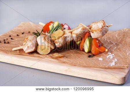 chicken and vegetable skewers