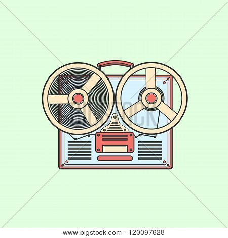 Obsolete tape recorder with two bobbins. Vector lineart illustra