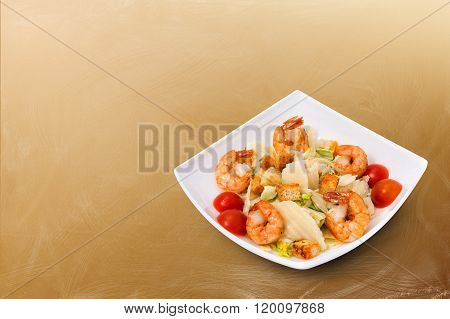 Caesar Salad with Seafood - shrimp, prawns