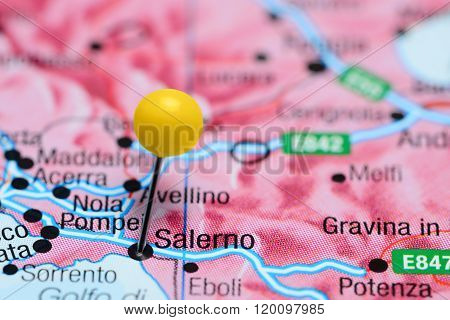 Salerno pinned on a map of Italy