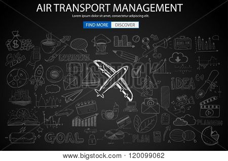 Air Transport Management Concept with Doodle design style :finding routes, monetization strategy, increase traffic. Modern style illustration for web banners, brochure and flyers.