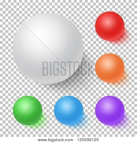 Photorealistic Vector 3D Ball Set Template. Bright Colors Vector