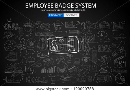 Employee Badge System concept with Doodle design style: working hours report, presence at job, puntuality. Modern style illustration for web banners, brochure and flyers.