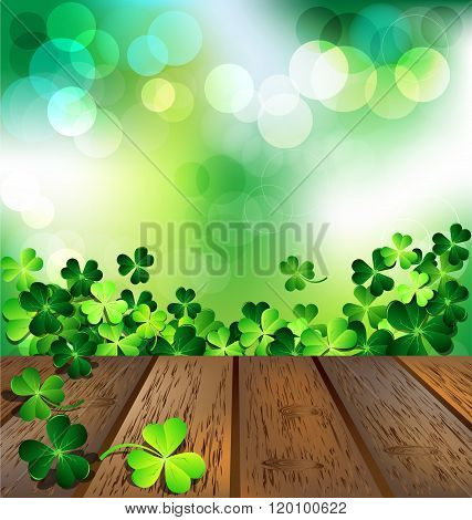 Shamrock On Wooden Floor For St. Patrick's Day Card