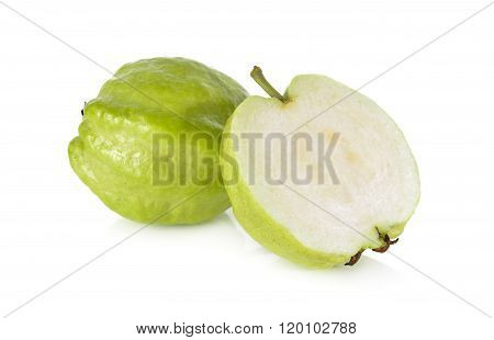 Whole And Half Cut Fresh Guava With Stem On White Background
