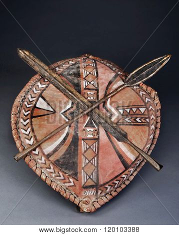 Maasai Spear Heads And Shield..
